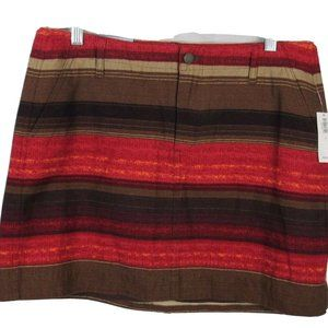 NEW Old Navy Red Brown Striped Mini Skirt 6 NWT